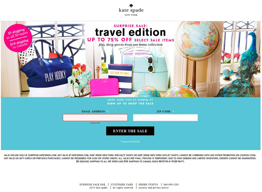 Kate Spade Surprise Sale Sign-In – Brand Experience Project